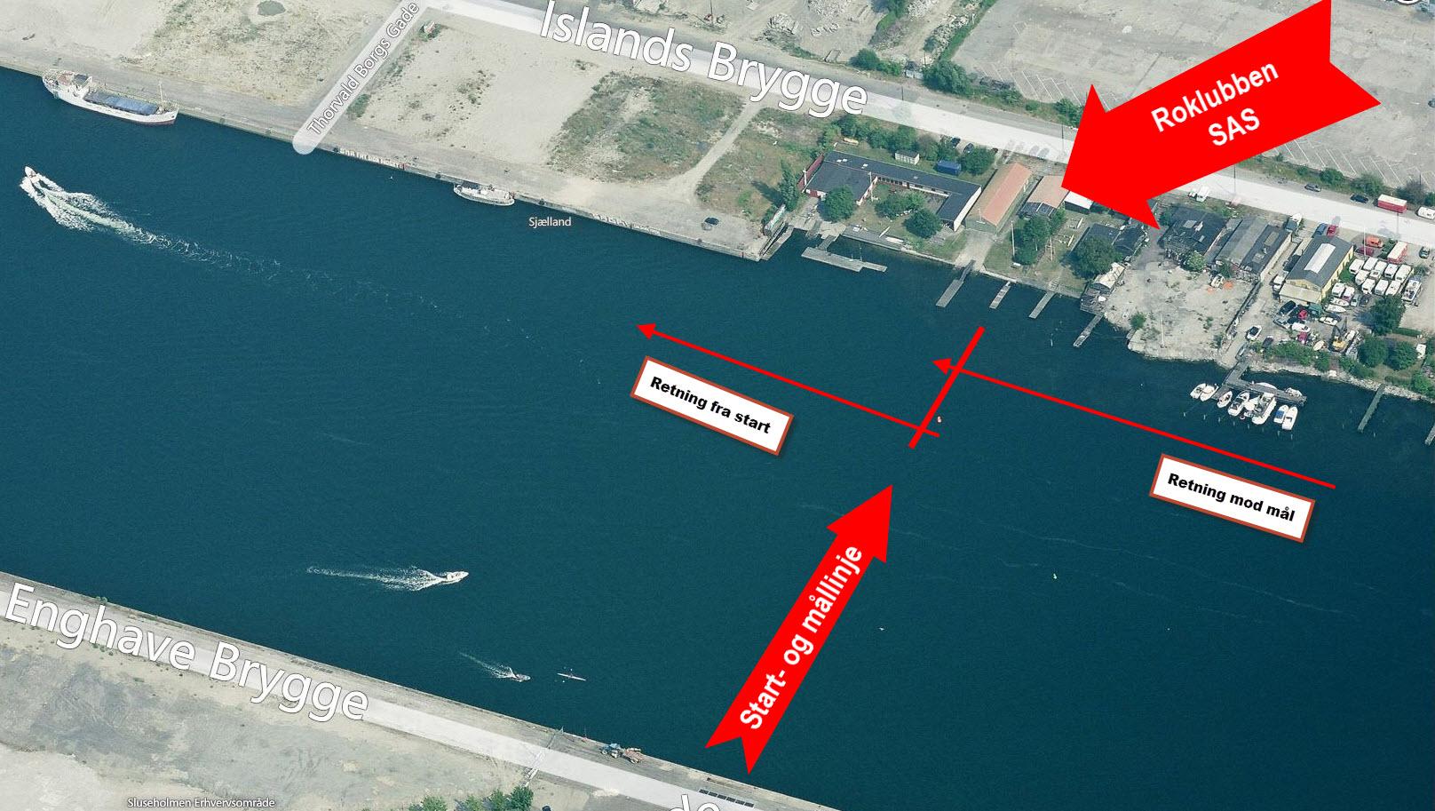 Oversigt over start- og målområde ved Roklubben SAS. Klik for større billede.